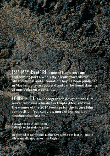 A one-page spread of the back cover of Black Sand