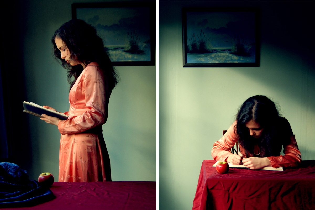 Two photographs side by side, one of a women at a window reading a book, one of a young woman writing at a table
