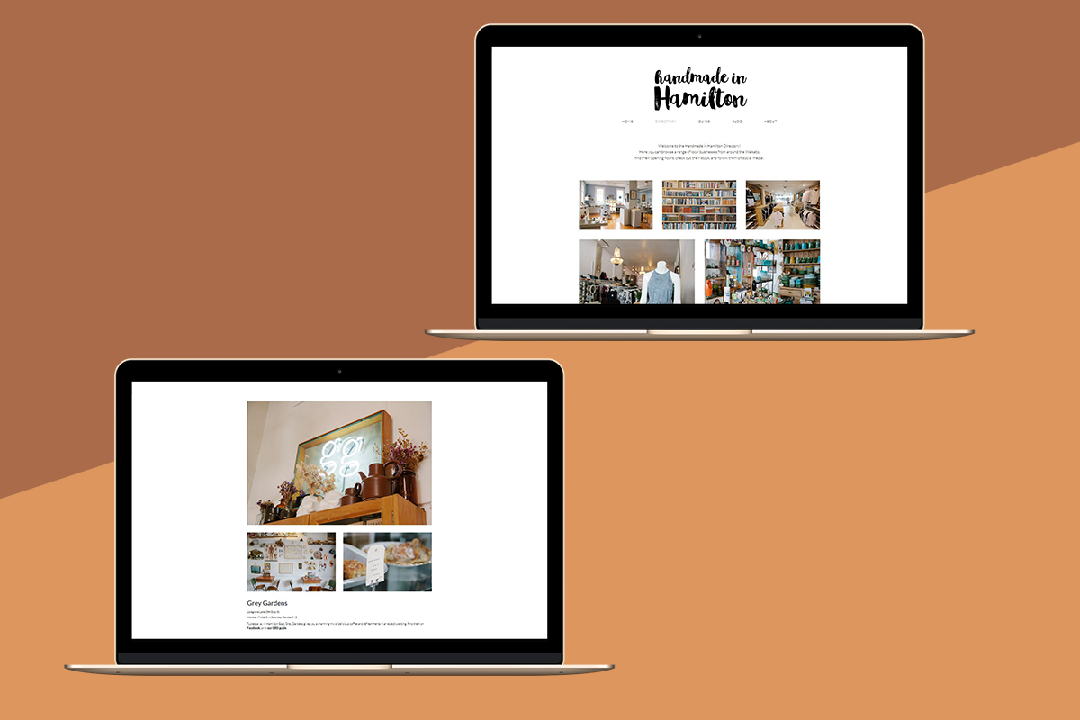 A graphic featuring a mock up of the Handmade in Hamilton on an Macbook, on a two-tone background